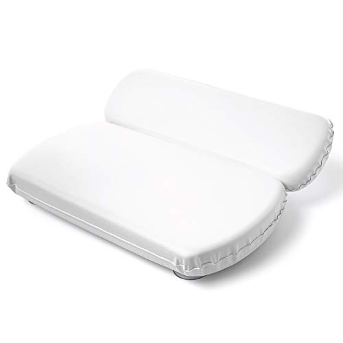 GripMAX Premium Spa Bath Pillow Pad for Tub with Gripping Suction Cups, Super Soft, Waterproof...