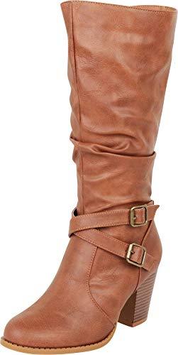 Cambridge Select Women's Slouch Crisscross Strappy Chunky High Heel Mid-Calf Boot,7.5 B(M) US,Tan PU