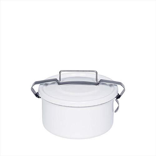 Riess 0315-033 Dichtungsdose, Vorratsdose, rund, mit Deckel, 3/4 Liter, Durchmesser 14 cm, Höhe 8 cm, CLASSIC WEISS