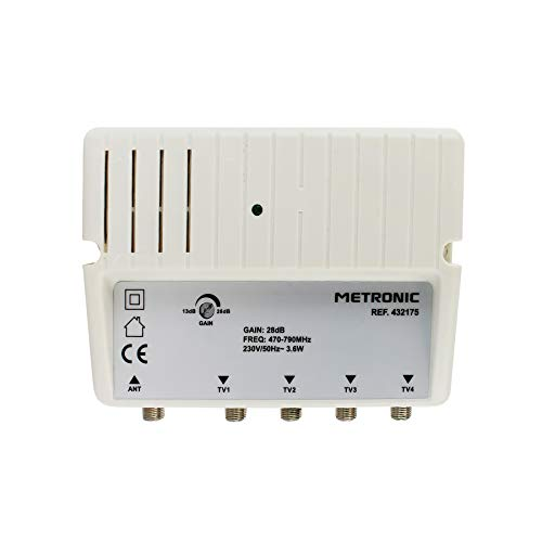 Metronic 432175 - Amplificador señal de Antena TV, Compatible 4G/5G, 28dB, 4 Salidas con Toma F, Interior, Blanco