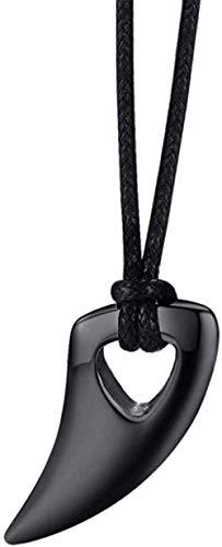 BACKZY MXJP Collar Collar para Hombre Domineering Fashional Color Ajustable Acero Inoxidable Dientes De Lobo Collar Colgante Collar Pulido Tribal Cadena Colgante para Mujeres Hombres