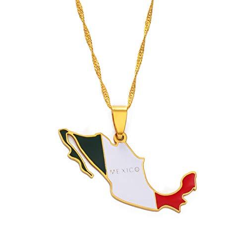 Collar Colgante Unisex,Cadena Colgante Dorada Con Bandera De Mapa De México Para Mujeres Y Hombres, Joyería Con Dijes Étnicos Personalizados, Regalos, Accesorios Para Fiestas Para Madres Y Novias