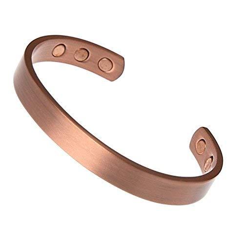 Kerdynelle - Bracelet avec aimants magnétique en pur cuivre lisse - 16 cm + Boîte Cadeau Kerdynelle (Poignet 14 à 19cm)