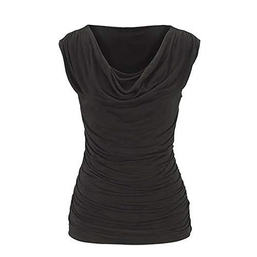 CUTUDE Chemisier Femme sans Manche T-Shirts Svelte Plissé Taille Plus Tops Polo Gilet Tunic Chemise Tunique
