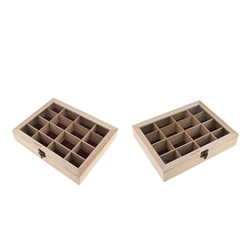 Sharplace 2X Unvollendete Holz Schmuckschatulle Schmuckschachtel Schmucksbox Schmuckkkoffer Schmuck-Aufbewahrungsbox, inkl. 32 Grids