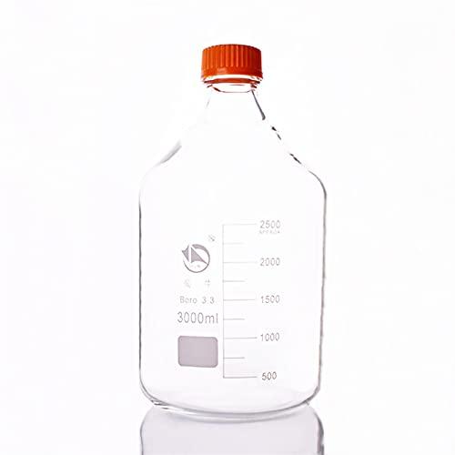 LIXIAONMKOP Lab Frascos Botella de reactivo, con Tapa de Tornillo Amarillo, Vidrio de borosilicato 3.3, Capacidad 3000 ml, graduación Muestra Viales Tapa de plástico Herramienta