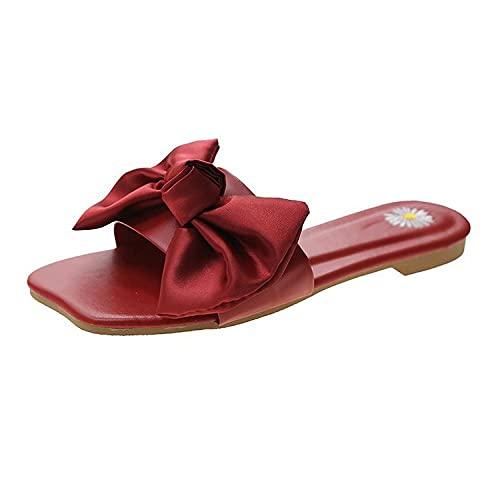 ypyrhh Sandalia Tipo Masaje,Zapatillas Planas,Arcos y jers.-Rojo_36,Zapatillas de Estar por Casa de Mujer/Hombre