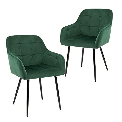 sillas de Comedor Set de 4 Terciopelo de Cocina Moderna de Mediados de Siglo tapizadas para salón,cómodas sillas para Dormitorio (Green, 2)