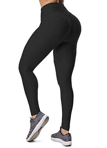 INSTINNCT Damen Slim Fit Hohe Taille Sportshort Lange Leggings mit Bauchkontrolle Schwarz XL