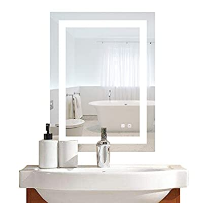 Bonnlo Led Bathroom Mirror LED Lighted Dimmable Wall Mounted Mirror for Bathroom Vanity Mirror with Touch Button and Anti-Fog Function