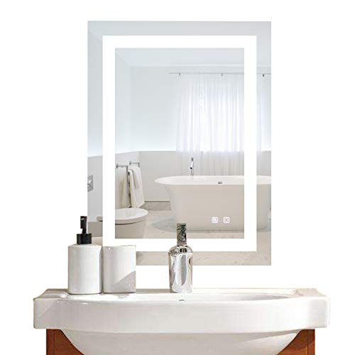 Bonnlo Led Dimmable Bathroom Mirror LED Lighted Wall Mounted Mirror for Bathroom -