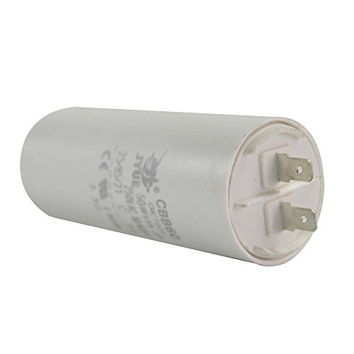 Interstate Pneumatics CMC7006 50MFD +/-5% 50Hz/60Hz AC 250V Cylinder Motor Running Capacitor - 2 Pin, White Color, 8mm Threaded End (CBB60)