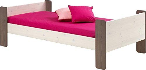 Steens Furniture Lit Individuel for Kids, 63 x 206 x 102 cm, pin Massif Blanc/Gris