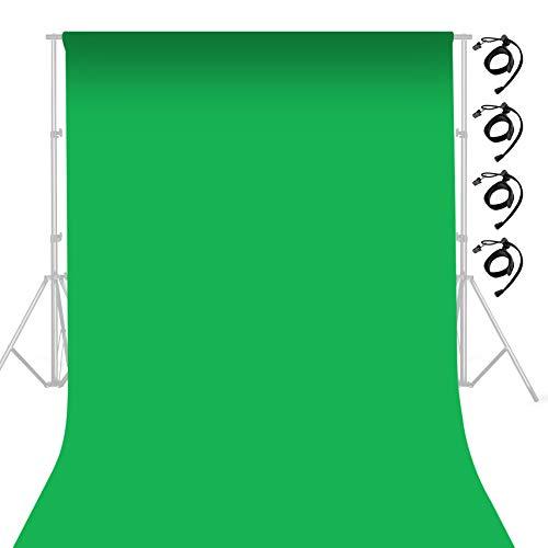Selens 3x6M Fondo de Pantalla Verde, Fotografía de Muselina 3x6M Tela de Fondo Green Screen Background Cloth con Abrazaderas Clips para Retrato Fotografía Estudio Fotográfico de Vídeo Juego