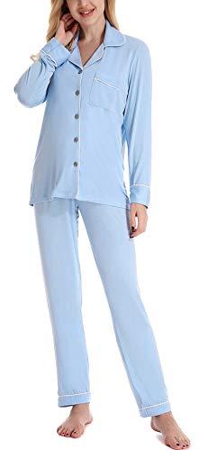 NORA TWIPS Schlafanzug für Damen, Pyjama für Damen, Damen Schlafanzug Pyjama, Zweiteiliger Nachtwäsche Set Langarm Herbst Winter V-Ausschnitt warm Sleepwear mit Knopfleiste, Licht Blau, S