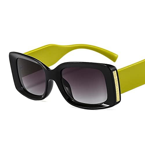 HAOMAO Gafas de sol cuadradas pequeñas con gradiente de espejo Uv400 rectángulo antirreflectante para mujeres y hombres negro verde