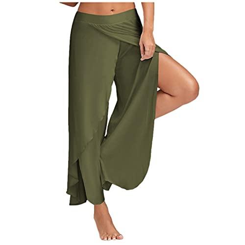Más El Tamaño de Las Mujeres de Alto Estiramiento Lateral de Hendidura Alta Pantalones de Yoga Cintura Elástica Color Sólido Pantalón Sueltos Casuales Deportes Fitness Correr