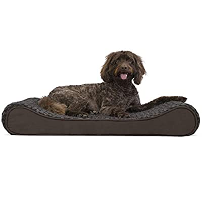 Furhaven Pet Dog Bed - Orthopedic Ultra Plush Faux Fur Ergonomic Luxe Lounger Cradle Mattress Contour Pet Bed w/ Removable Cover for Dogs & Cats, Chocolate, Large