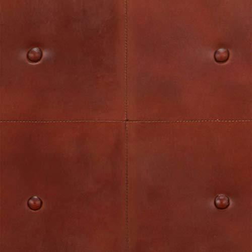 vidaXL Akazienholz Massiv Sofa 2-Sitzer Luxus Design Polstersofa Loungesofa Ledersofa Designersofa Zweiersofa Sitzmöbel Wohnzimmer Braun Echtleder