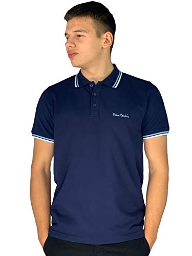 Pierre Cardin - Polo de corte clásico para hombre, con franja en el cuello y las mangas Multicolor azul marino S