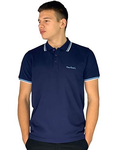 Pierre Cardin - Polo de corte clásico para hombre, con franja en el cuello y las mangas Multicolor azul marino XXL