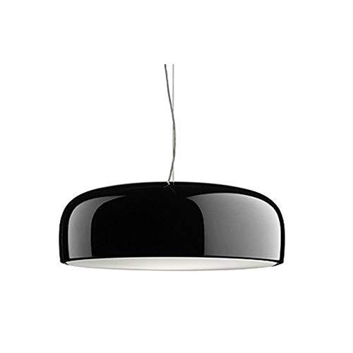 LFsem Luz colgante Moderna Simple E27 Luz de techo Lámpara de araña Lisa Lámpara de aluminio Lámpara colgante de sombra para comedor Sala de estar Dormitorio Restaurante Cafe 350mm (Negro)