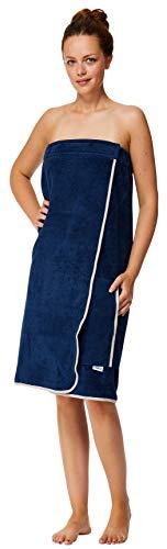 Sowel® saunakilt dames, klittenbandsluiting en elastiek, saunahanddoek van 100% katoen, 130 x 80 cm