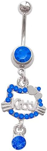 Blue Hello Kitty gem Dangle says Kitty Belly Button Navel Ring Piercing bar Body Jewelry 14g