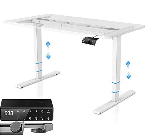 HOKO - Escritorio ajustable en altura para escritorio con marco de acero y mando a distancia digital con función de memoria (blanco doble motor de 3 pisos R - B)