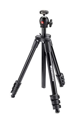 Manfrotto MKCOMPACTLT-BK Compact Light Treppiede con Testa a Sfera per Fotocamere DSLR e Senza Specchio, 4 Sezioni in Alluminio, Ne