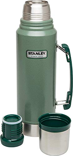 STANLEY 18-8 Stainless Steel-Double-Wall Vacuum Insulation Water Bottle, Hammertone Green, 1L