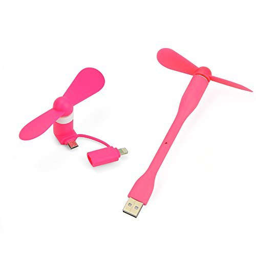 Mini Fan 2 in 1 Mini USB Fan,YouerTrade Portable Micro USB Fan for Hot Weather Cooler Rotating Fan USB Phone Fan for iPhone/Android and Samsung Phone/USB Port-Pink