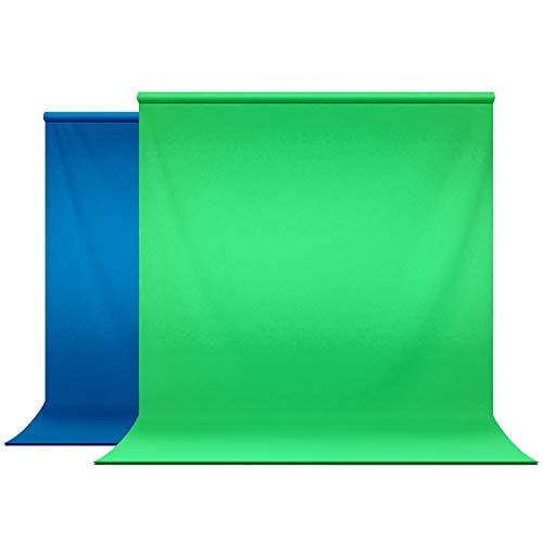 JS JULIUS STUDIO 6 x 9 ft. Green & Blue Chroma Key Background Screen, Soft and Seamless Silk Texture Backdrop Muslin, Photography Chromakey Studio, JSAG228