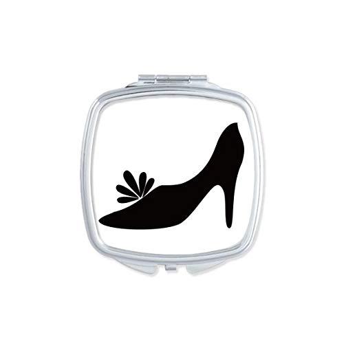 DIYthinker Zwart Hoge Hakken Bloem Patroon Silhouette Vierkant Compact Make-up Spiegel Draagbare Leuke Hand Pocket Spiegels Gift