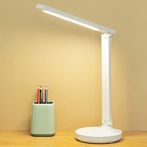 Lámpara de Escritorio Llevada Regulable, Lámpara de Mesa de Lectura Plegable Brillante, Panel de Sensores de Un Toque, 26 Led's Empotrados, 3 Modos de Iluminación, para Oficina Residenci(Color:blanco)