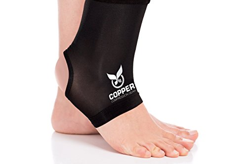 Copper Compression Gear Premium Fit Recovery Ankle Sleeve - 100% Guaranteed - Best Ankle Brace Support Sock Wrap Stabilizer for Men and Women
