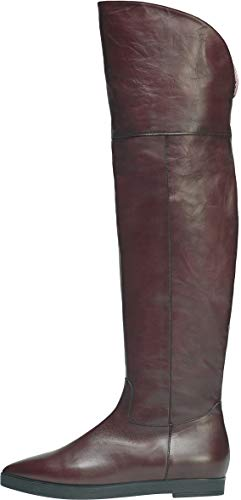 Poi Lei Damen-Schuhe Overkneestiefel Lou Bordeaux Flach Leder