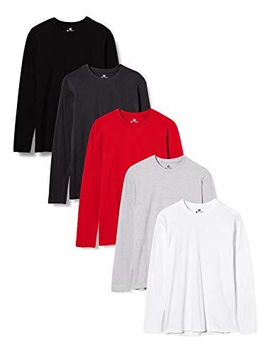 Lower East Herren Langarm-Shirt mit Rundhalsausschnitt aus 100% Baumwolle, 5er Pack, Mehrfarbig (Weiß/Schwarz/RotWeiß/Schwarz/Rot), M