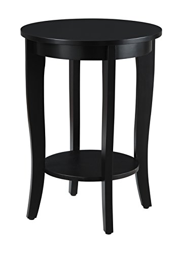 Convenience Concepts American Heritage Round End Table, Black