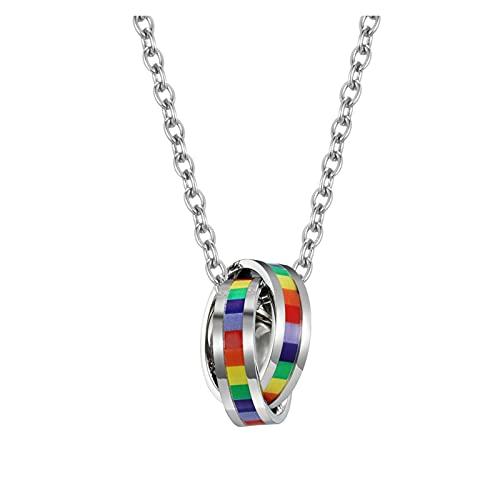 WDSFT Collar Delicado para Mujer LGBT Rainbow Colgante Colgante para Hombres, Titanio Cuello de Acero Inoxidable Hiphop Pareja Deportes Colgante con Cadena Punk Rock Gothic Choker Joyería
