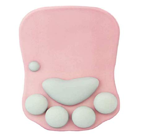 Cat Paw Mouse Pad with Wrist Support Soft Silicone Wrist Rests Non Slip Cushion Mousepad for Office Computer Gaming Desk Decor (10.7x7.8x0.9'') (Pink)