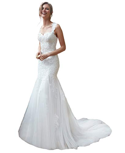 Long Trumpet Wedding Dresses for Bride Lace Sheer Sweep Train Illusion Back Mermaid Bridal Gowns White 2
