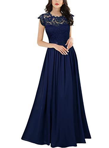 MIUSOL Damen Elegant Ärmellos Rundhals Vintage Herbst Winter Hochzeit Chiffon Faltenrock Langes Kleid Navy Blau Gr.S