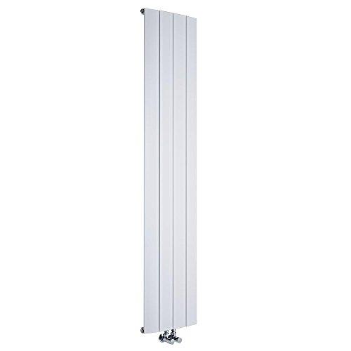 Hudson Reed Aurora Radiatore Termoarredo Verticale di Design - Termosifone in Alluminio con Finitura Bianca - 1384W - 1800 x 375mm - Riscaldamento ad Acqua Calda