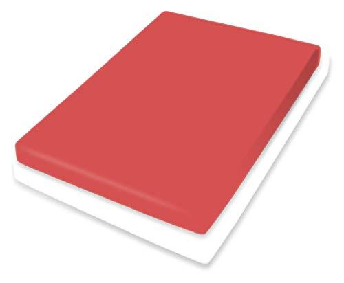 Bassetti Spannbetttuch für Boxspringtopper Uni Farbe Rosso Siena RB/878 Größe 140x200 160x220 cm Rundumgummi Öko-Tex Spannbetttuch Laken Topperbezug Bettbezug