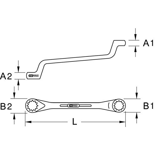 KS Tools 517.0854 CLASSIC Doppel-Ringschlüssel, gekröpft, 22x24mm