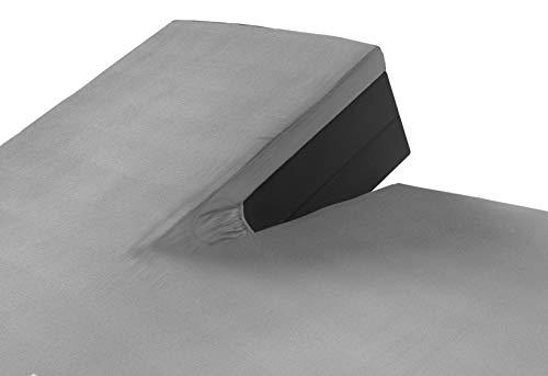 SLEEPMED 2er Pack Jersey Split Topper grau, Spannbettlaken 180 x 200 cm für Boxspringbetten aus Baumwolle, antiallergischer Matratzenbezug mit Schlitz
