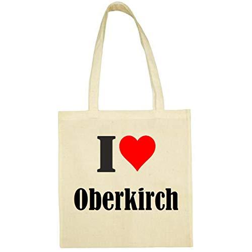 Tasche I Love Oberkirch Größe 38x42 Farbe Natur Druck Schwarz
