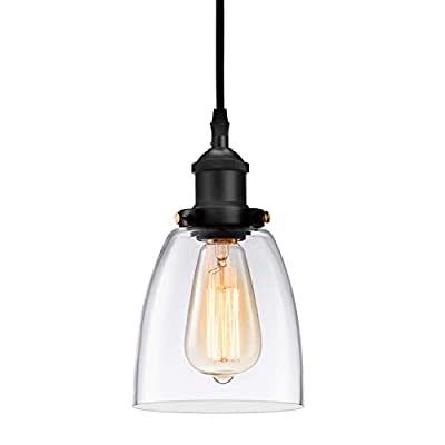 Kitchen Mini-Pendant Light Industrial Hanging Light Island Clear Glass Adjustable Nylon Core Ceramic Holder Lighting Fixture Indoor for Dining Room Entryway Loft (Bulb Not Included)