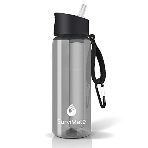 Survimate Filtered Water Bottle BPA Free with 4-Stage Intergrated Filter Straw for Camping, Hiking, Backpacking and Travel (Gray)